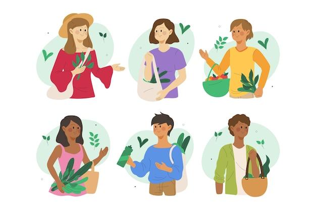 Ilustracyjny pojęcie z zielonymi stylów życia ludźmi
