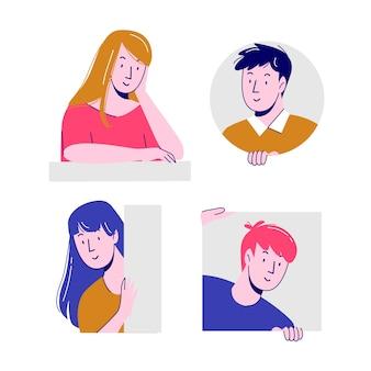 Ilustracyjny projekt z ludźmi podgląda kolekcję