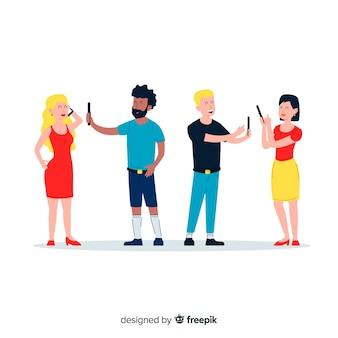 Ilustracyjny projekt z postaciami trzyma telefony
