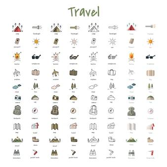 Ilustracyjny rysunek styl campingowe ikony inkasowe