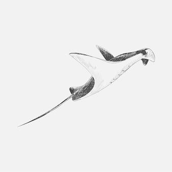 Ilustracyjny rysunkowy styl denna ryba