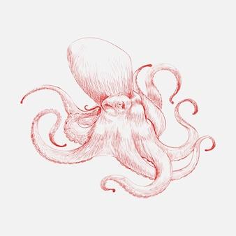 Ilustracyjny rysunkowy styl ośmiornica