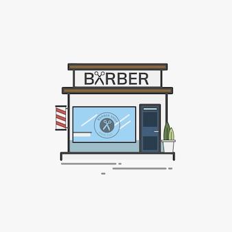 Ilustracyjny ustawiający fryzjera męskiego sklepu wektor