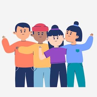 Ilustracyjny ustawiający młodzi ludzie