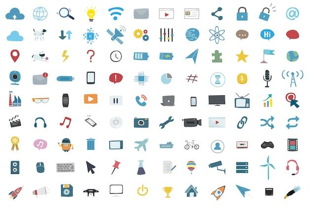 Ilustracyjny ustawiający technologia ikony wektorowe