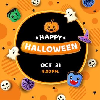 Ilustracyjny wektor halloween przyjęcie z ciastko potworem