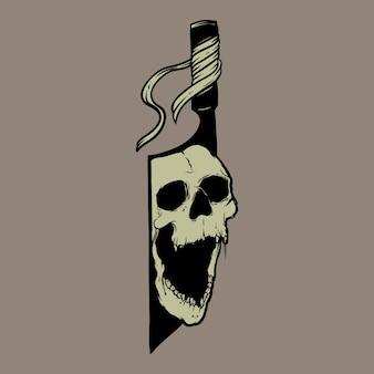 Ilustracyjny wektorowy nóż i czaszka