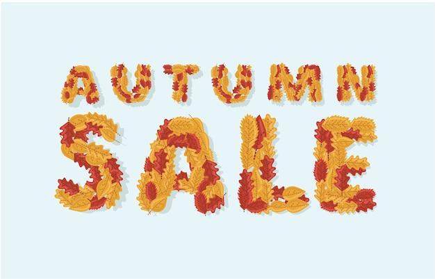 Ilustratio tbanner sprzedaży jesiennej z kolorowym tekstem sezonowych liści jesienią na białym tle na promocję rabatów na zakupy.