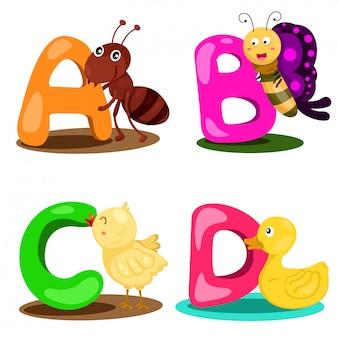 Ilustrator alfabet zwierząt list - a, b, c, d