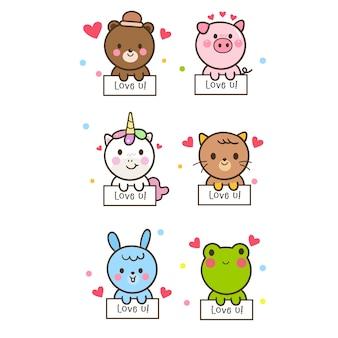 Ilustrator cute kolekcji zwierząt