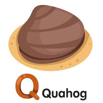 Ilustrator czcionki q z quahogiem