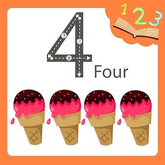 Ilustrator czterech liczb lodów
