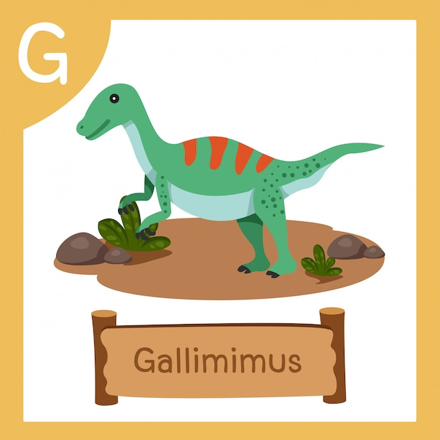 Ilustrator g dla gallimimus dinozaurów