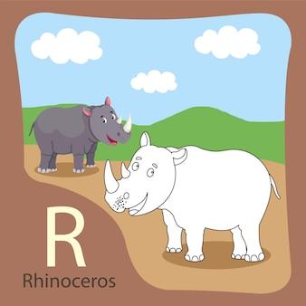 Ilustrator izolowanych i barwiących nosorożców