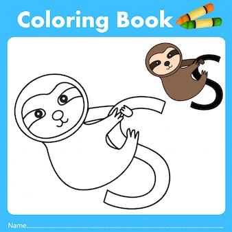 Ilustrator kolor książka z opieszałości zwierzęciem