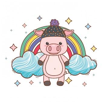 Ilustrator kreskówka świnia wektor