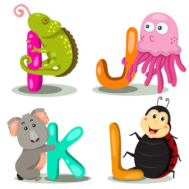 Ilustrator liter alfabetu zwierząt - i, j, k, l