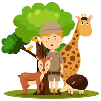 Ilustrator mężczyzna opiekuna zoo