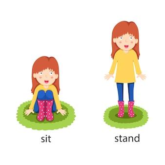 Ilustrator naprzeciwko siedzieć i stać