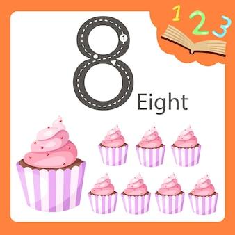 Ilustrator ośmiu cupcake liczby