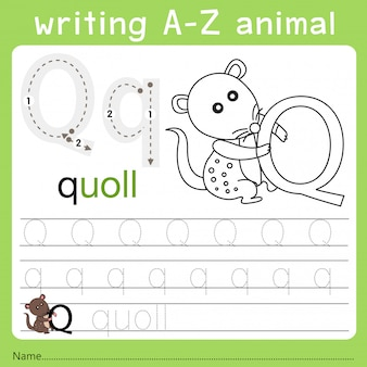 Ilustrator pisania az zwierząt q