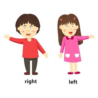 Ilustrator przeciwieństw prawo i lewo