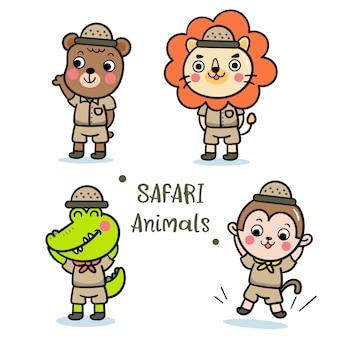 Ilustrator zestaw safari zwierząt