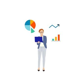Ilustrowana biznesowa kobieta z dane analizy wykresem