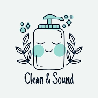 Ilustrowana buźka z logo butelki mydła