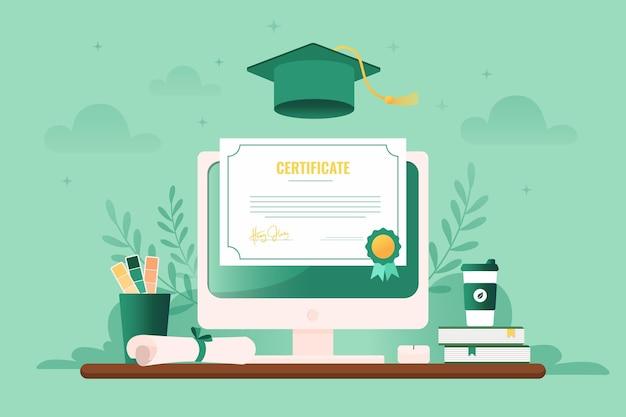 Ilustrowana certyfikacja online na ekranie komputera