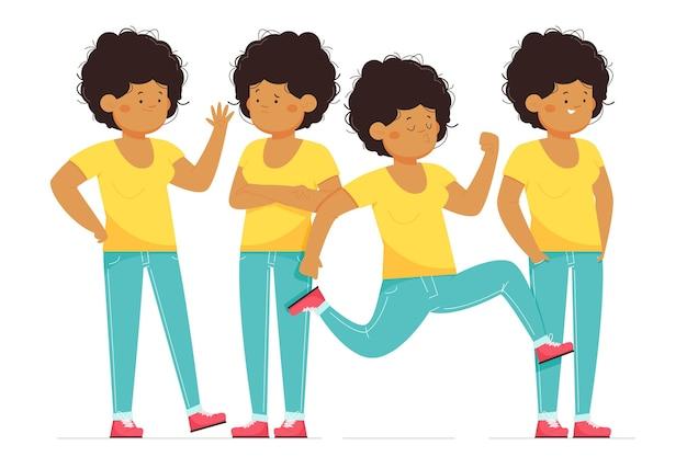 Ilustrowana czarna dziewczyna w różnych pozach