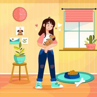 Ilustrowana dziewczynka trzymająca w ramionach małego psa