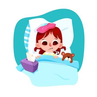 Ilustrowana dziewczynka z przeziębieniem