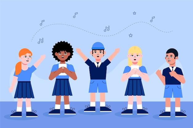 Ilustrowana grupa dzieciaków śpiewających w chórze