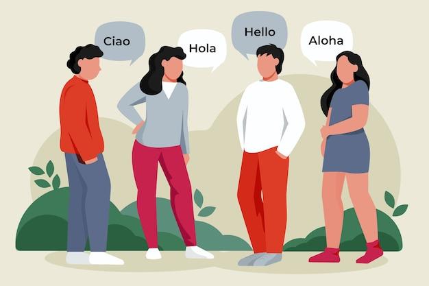 Ilustrowana grupa ludzi mówiących w różnych językach