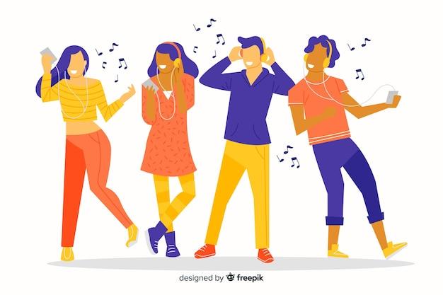 Ilustrowana grupa ludzi słuchających muzyki i tańczących