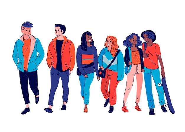 Ilustrowana grupa młodych ludzi