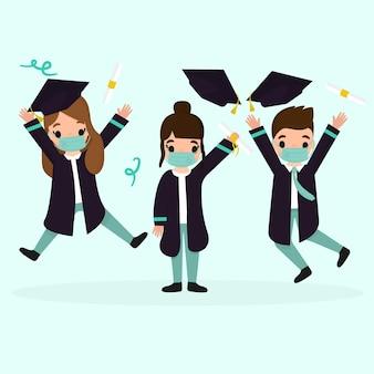 Ilustrowana grupa osób kończących studia