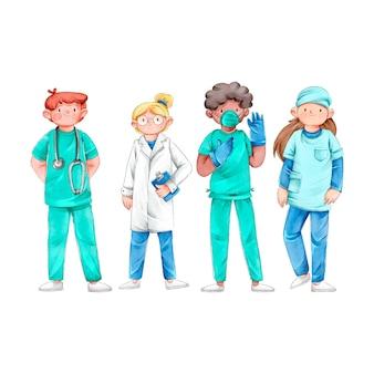 Ilustrowana grupa profesjonalnych lekarzy i pielęgniarek