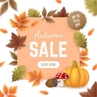 Ilustrowana jesienna promocja sprzedaży