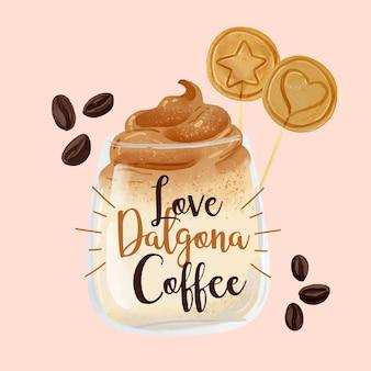 Ilustrowana kawa dalgona w słoiku