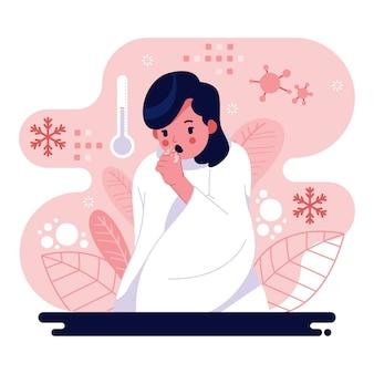 Ilustrowana kobieca postać z przeziębieniem