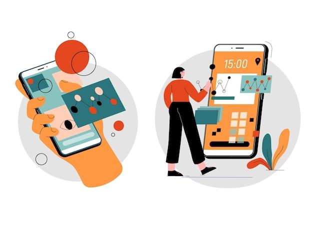 Ilustrowana Kobieta Korzystająca Z Rozszerzonej Rzeczywistości Na Smartfonach Premium Wektorów