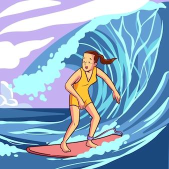 Ilustrowana kobieta surfing