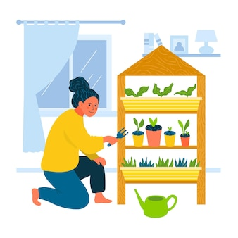 Ilustrowana kobieta uprawia ogródek w domu