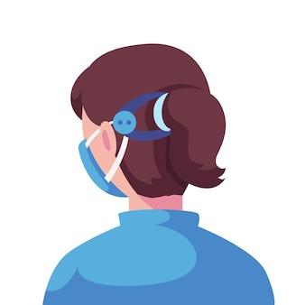 Ilustrowana kobieta z regulowanym paskiem maski na twarz