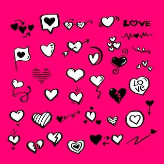 ilustrowana kolekcja doodle heart love
