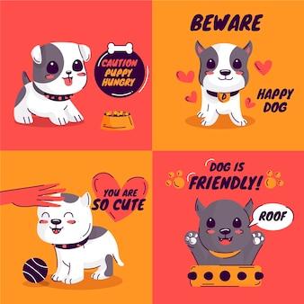 Ilustrowana kolekcja ekologicznych płaskich pitbullów