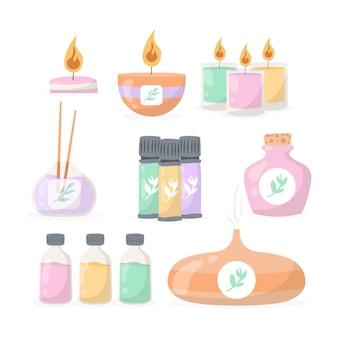 Ilustrowana kolekcja elementów aromaterapeutycznych