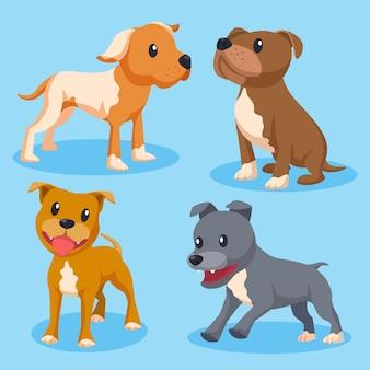 Ilustrowana kolekcja kreskówek pitbull